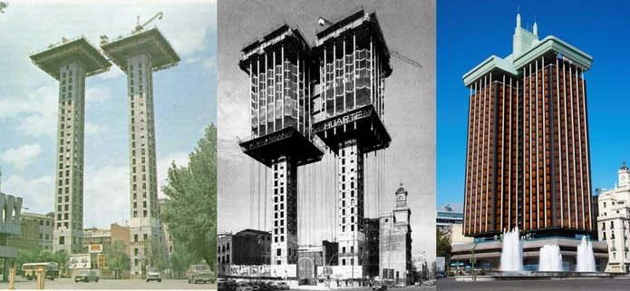 Строительство сверху-вниз: здание Торрес де Колон в Мадриде