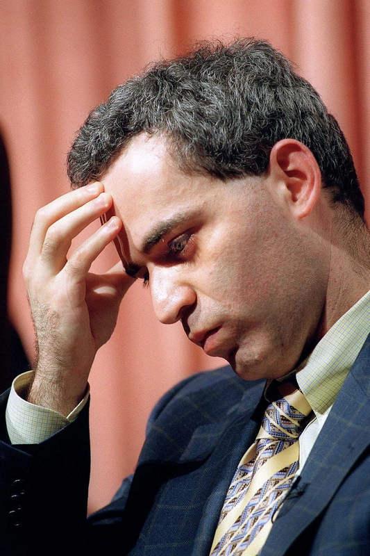 Каспаров после победы Deep Blue в финальной игре. 11 мая 1997 года.