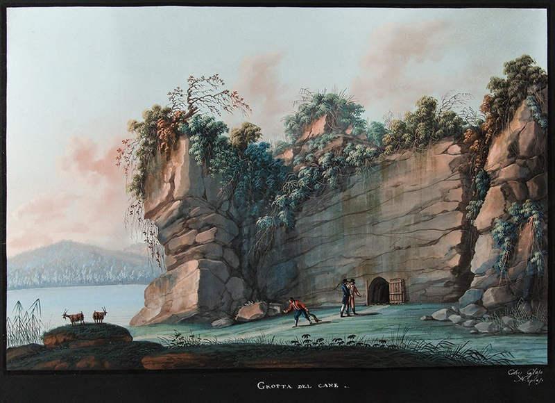 На картине Камилло ДеВито (1794-1845) изображен поход туристов с собакой в Собачью пещеру