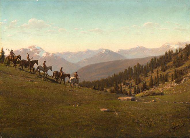 Пять всадников спускаются с холма, начало XX века