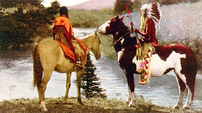 Пара индейцев племени пикани, национальный парк Глейшер, Монтана, начало XX века