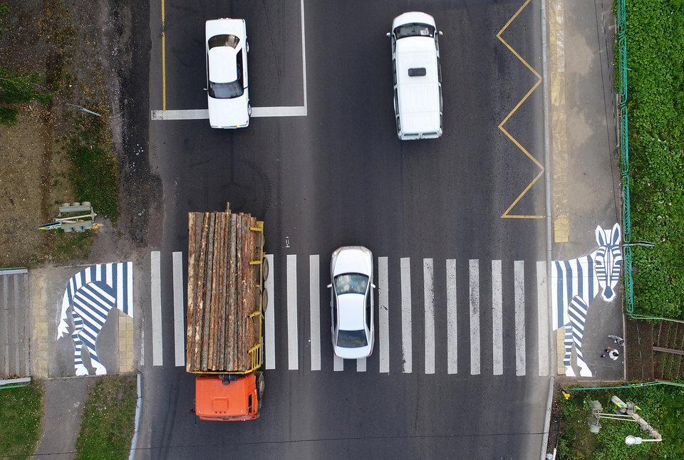 На пешеходном переходе, нарисованном в виде зебры, на федеральной автомобильной дороге Р257 «Енисей» в Красноярске, Россия.