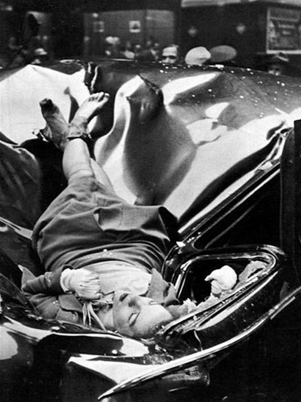 Самоубийство с шиком: 23-летняя Эвелин Макхейл выпрыгнула с 83-го этажа Эмпайр-стейт-билдинг и приземлилась на лимузин одного из сотрудников ООН, 1947 год.