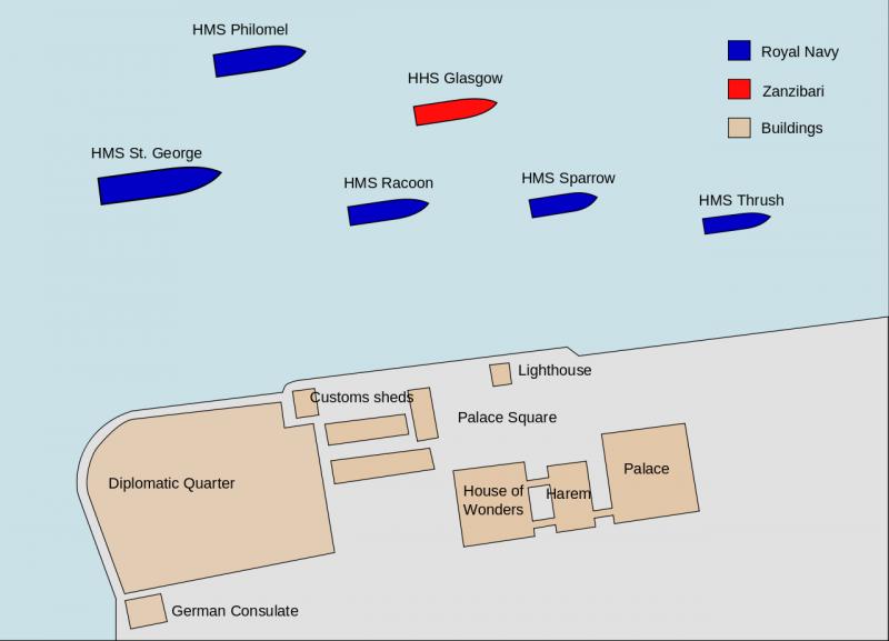 Диспозиции военно-морских сил в 9:00