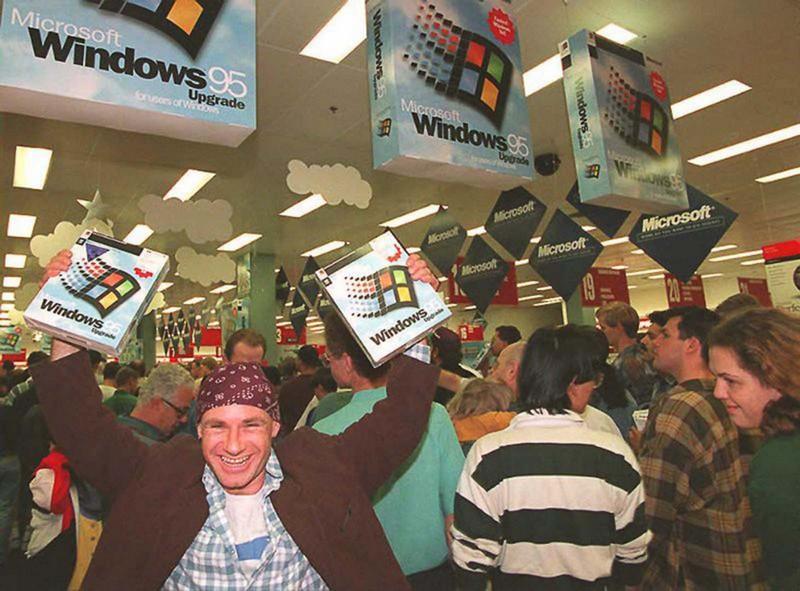 Один из первых покупателей Windows 95. Сидней, 1995 год