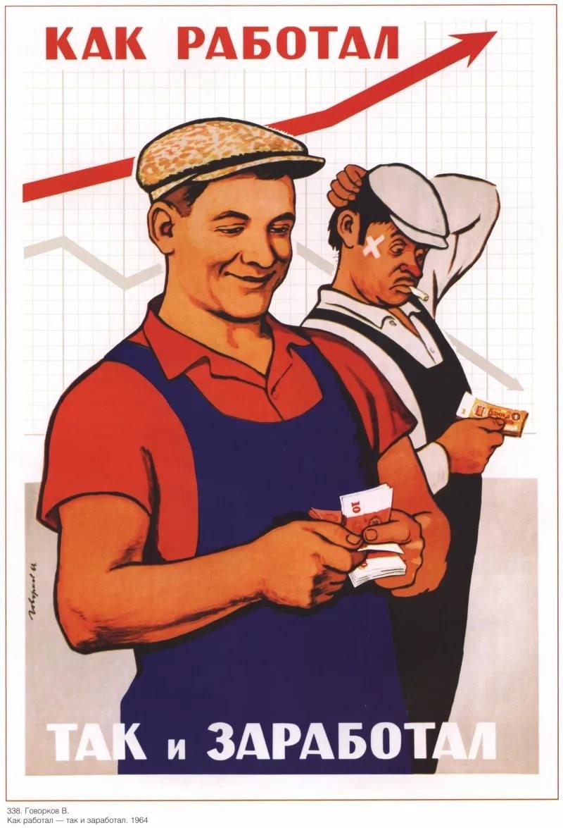 Советские плакаты про труд и работу: Как работал, так и заработал