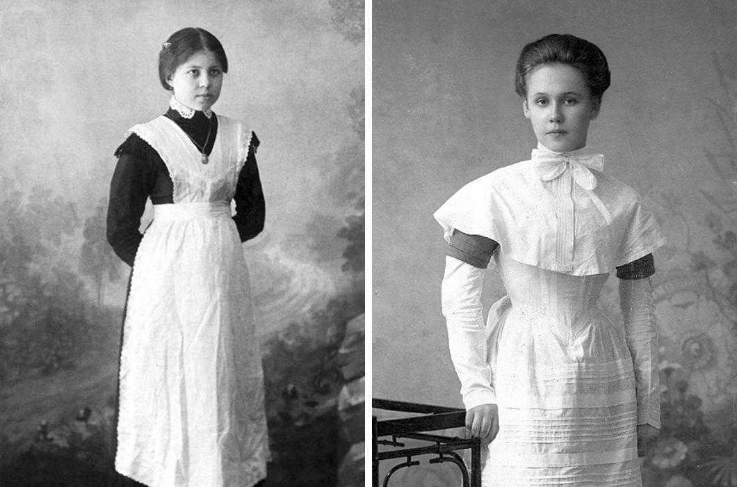 Форма гимназисток состояла из платья и фартука, волосы собраны